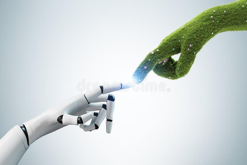Mão de grama que toca na mão do robô, cinzenta ilustração do vetor