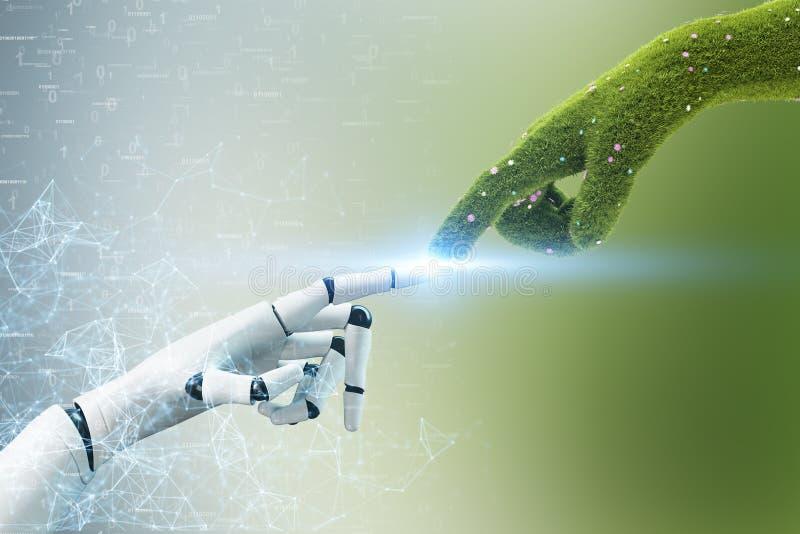 Mão de grama que toca na mão do robô, poligons ilustração royalty free