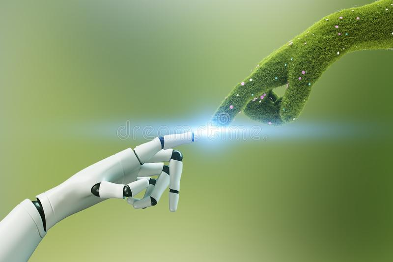 Mão de grama que toca na mão do robô, verde ilustração do vetor