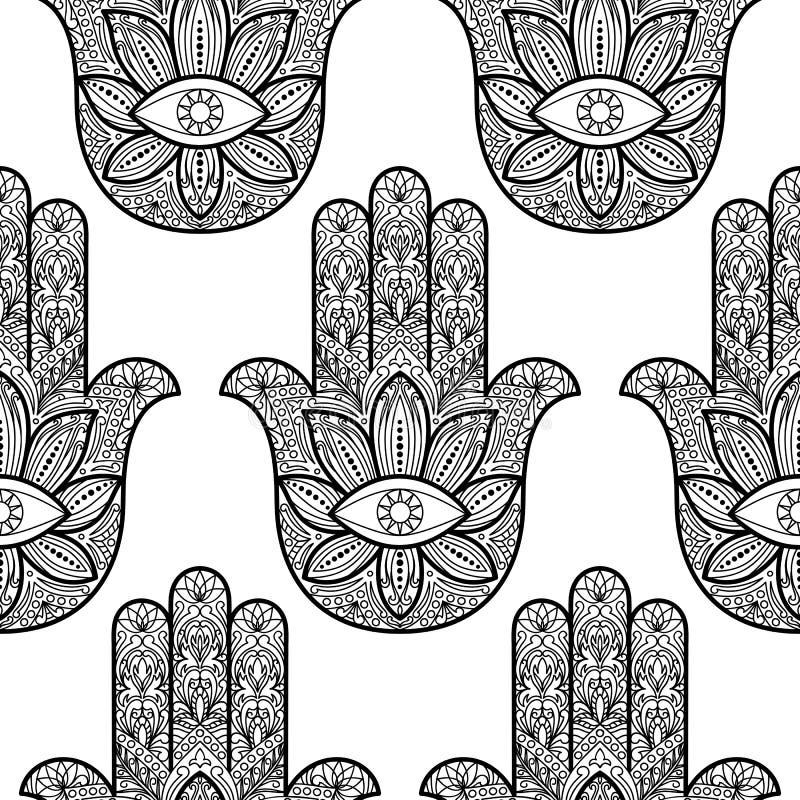 Mão de Hamsa de Fatima Seamless Pattern ilustração stock