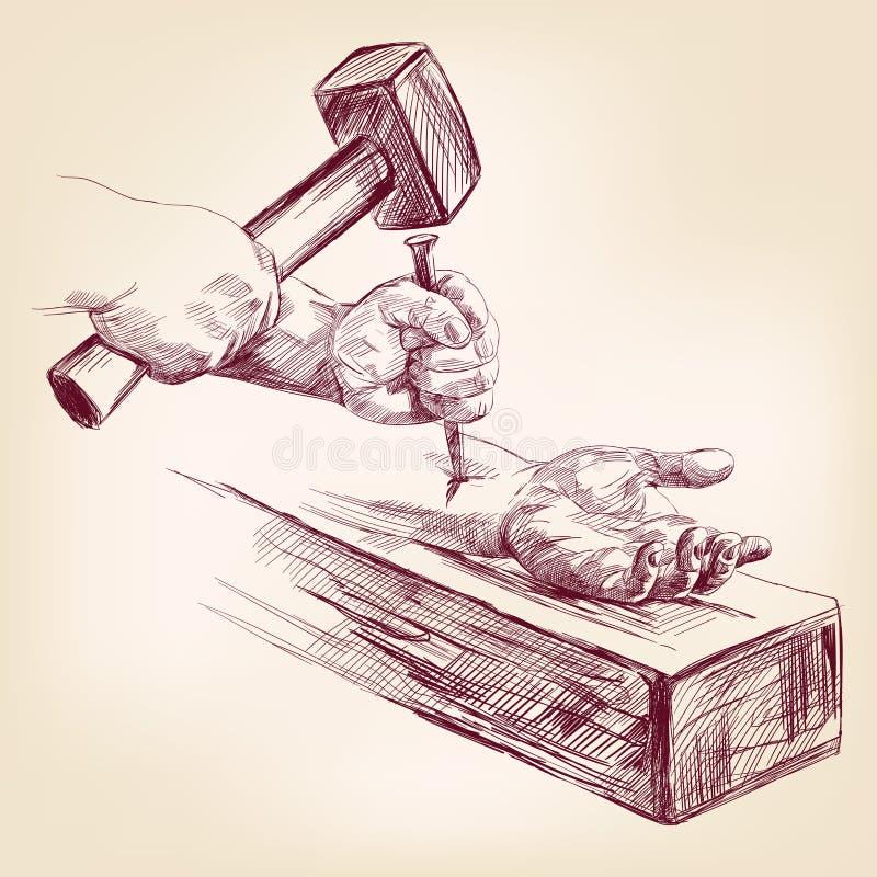 Mão de Jesus Christ na cruz ilustração stock