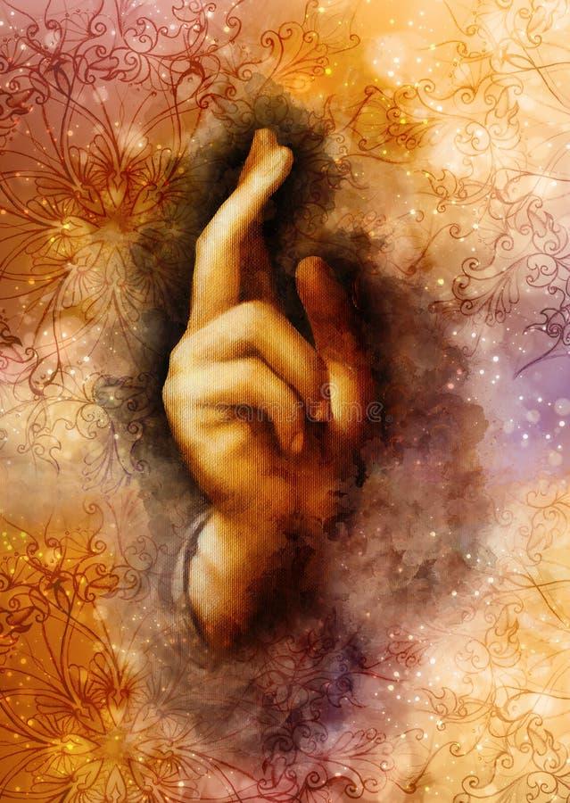 Mão de Jesus Christ no gesto simbólico Detalhe de minha própria reprodução do salvador da pintura de Leonardo DaVinci do fotos de stock