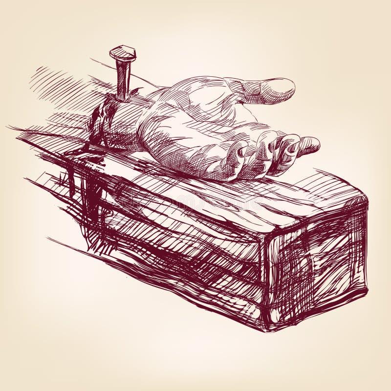 Mão de Jesus Christ no vetor transversal ilustração stock