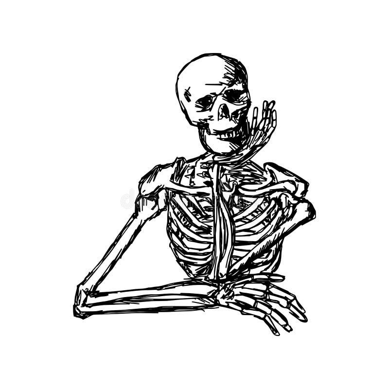 Mão de mantimento de esqueleto humana no esboço h da ilustração do vetor do queixo ilustração stock