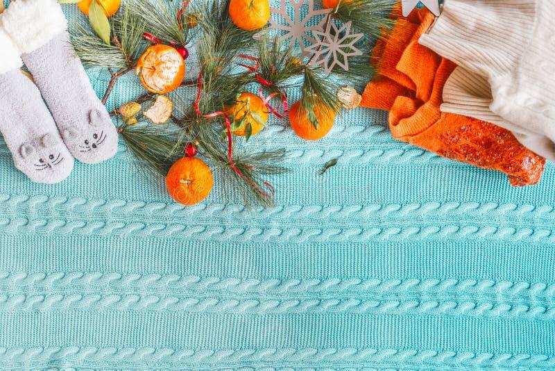 Mão de mulher com tangerinas em cobertor de malha azul, suéter de laranja, ramos de abeto Vista superior imagem de stock