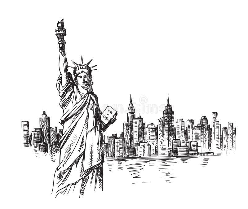 Mão de New York tirada ilustração stock