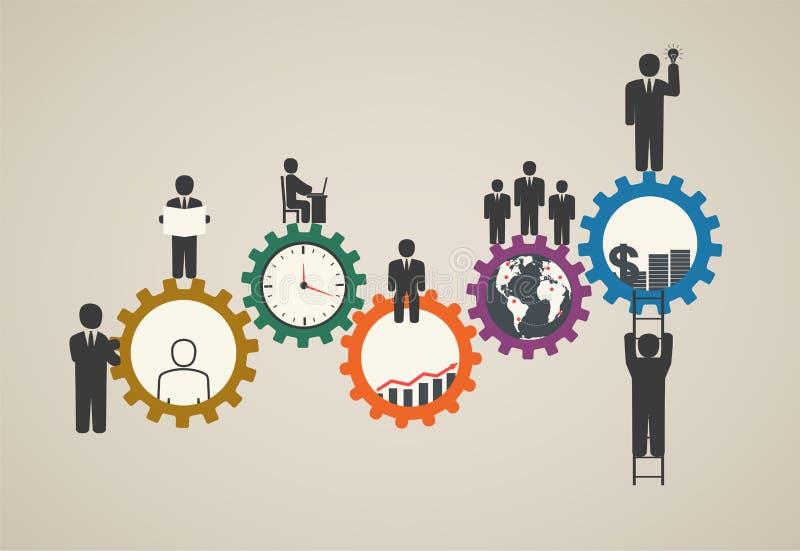 Mão de obra, funcionamento da equipe, executivos no movimento, motivação para o sucesso ilustração do vetor