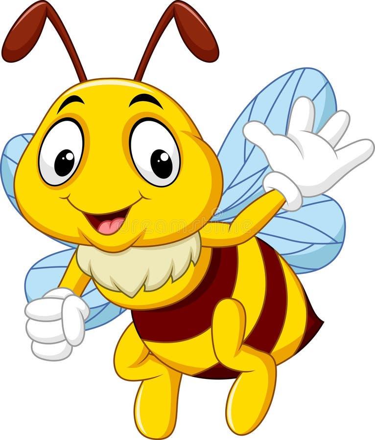 Mão de ondulação da abelha dos desenhos animados ilustração do vetor