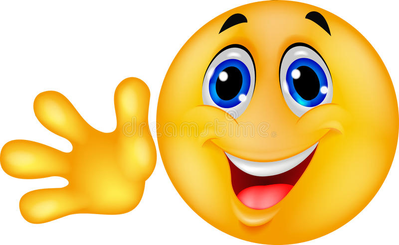 Mão de ondulação do emoticon do smiley ilustração royalty free