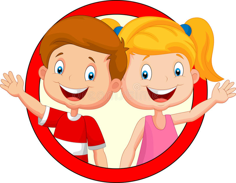 Mão de ondulação dos desenhos animados bonitos das crianças ilustração royalty free