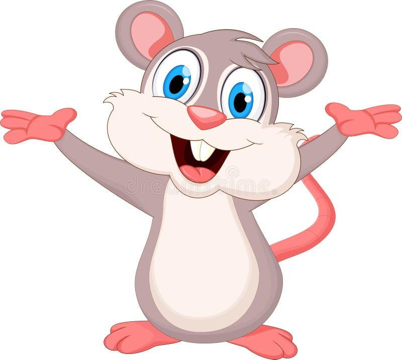 Mão de ondulação dos desenhos animados engraçados do rato ilustração royalty free