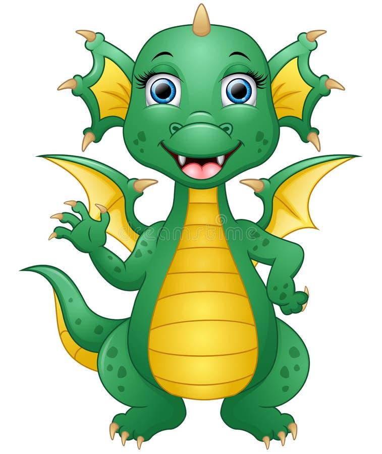 Mão de ondulação dos desenhos animados felizes do dragão