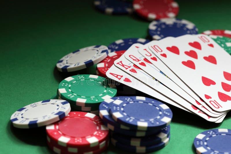 Mão de póquer do resplendor real foto de stock royalty free