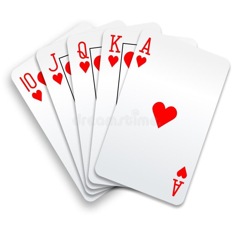 Mão de póquer dos cartões de jogo do resplendor real dos corações ilustração royalty free