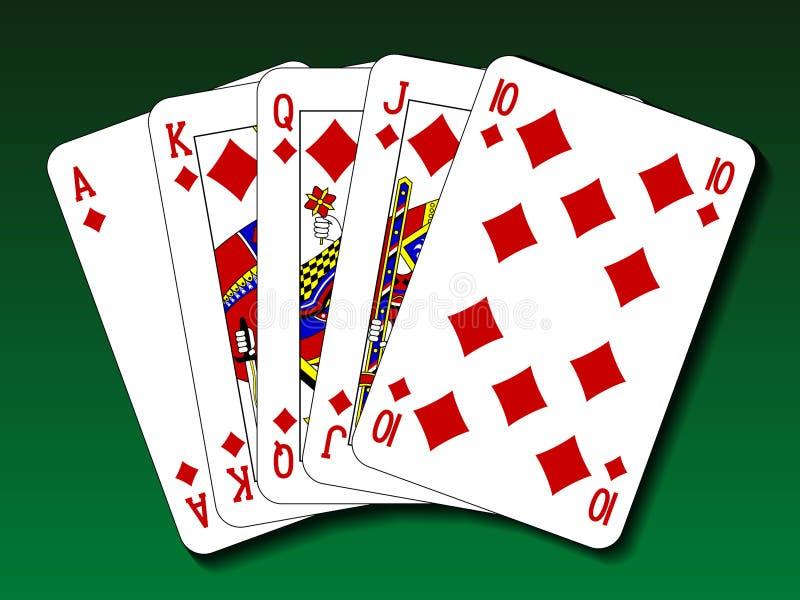 Mão de pôquer - diamante do resplendor real ilustração stock