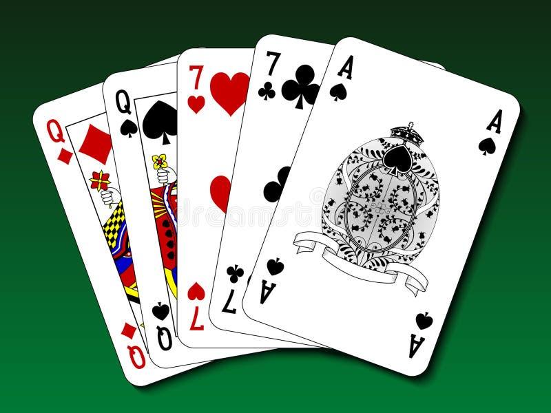 Mão de pôquer - dois pares ilustração do vetor