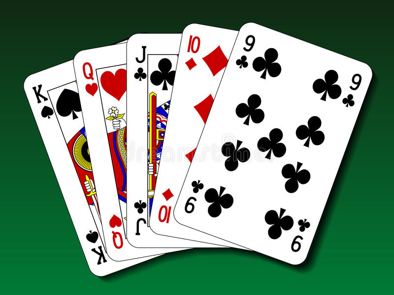 Mão de pôquer - em linha reta ilustração do vetor