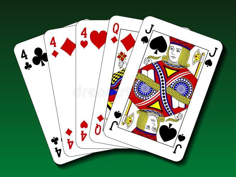 Mão de pôquer - três de um tipo, viagens ilustração royalty free