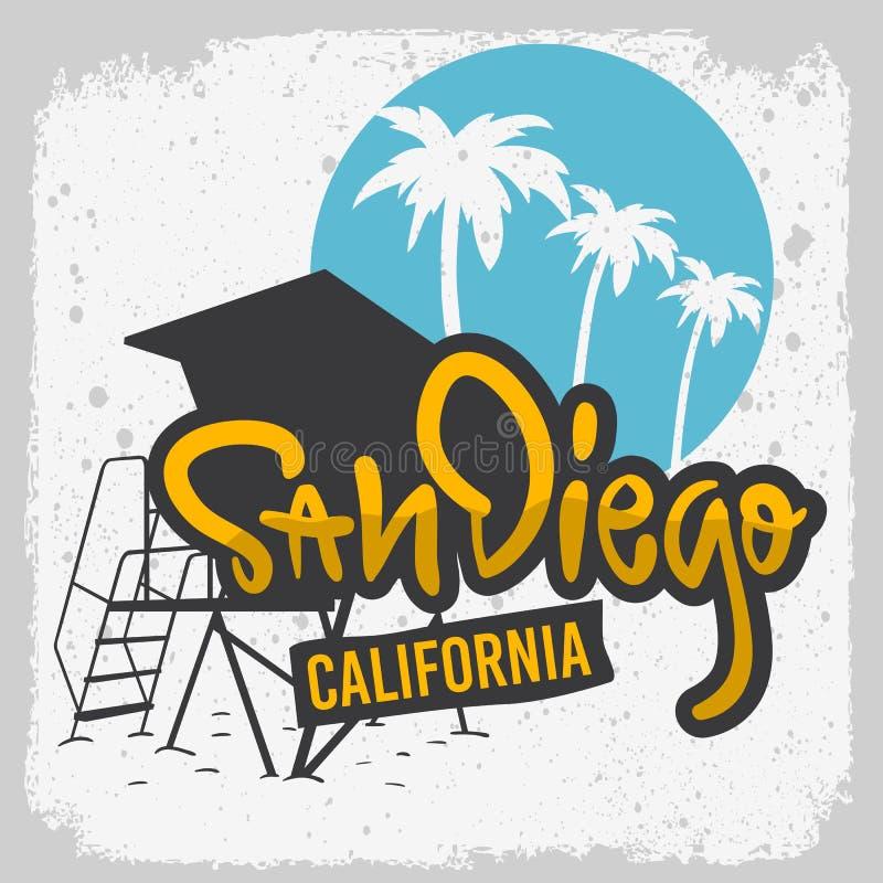 Mão de San Diego California Surfing Surf Design tirada rotulando o tipo Logo Sign Label para a camisa dos anúncios t da promoção  ilustração do vetor