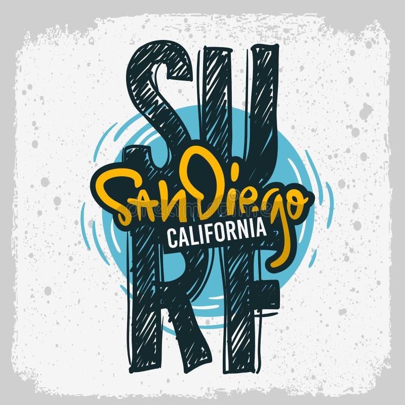Mão de San Diego California Surfing Surf Design tirada rotulando o tipo Logo Sign Label para a camisa dos anúncios t da promoção  ilustração stock