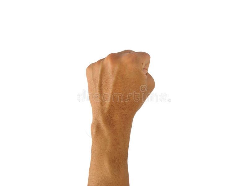 A mão de um homem com um símbolo no fundo branco foto de stock