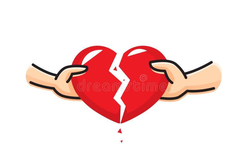 A mão de um homem e a mão de uma ruptura da mulher o coração Conceito do coração da dissolução Divórcio do relacionamento da cris ilustração stock
