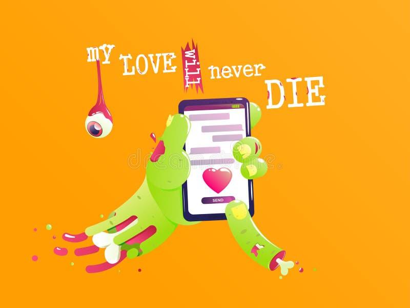 A mão de um zombi com um osso e o sangue enviam uma mensagem do amor Valentim engraçado Meu amor nunca morrerá ilustração do vetor