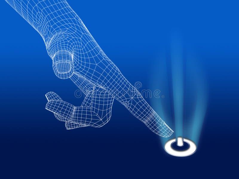 Mão de Wireframe com botão do poder ilustração stock