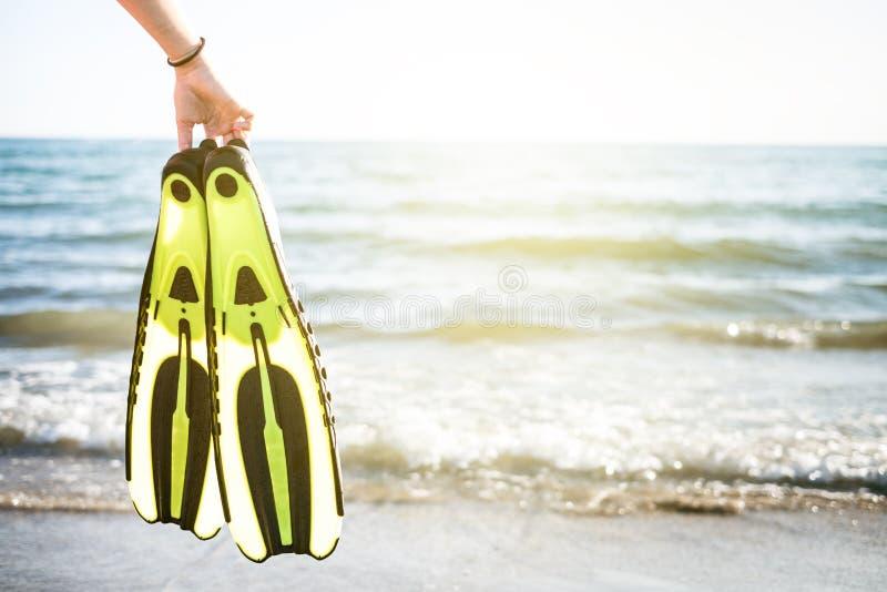 A mão de Womanmantém aletas do tubo de respiração e de natação em um Sandy Beach Esportes de água snorkeling Conceito do curso  imagens de stock royalty free