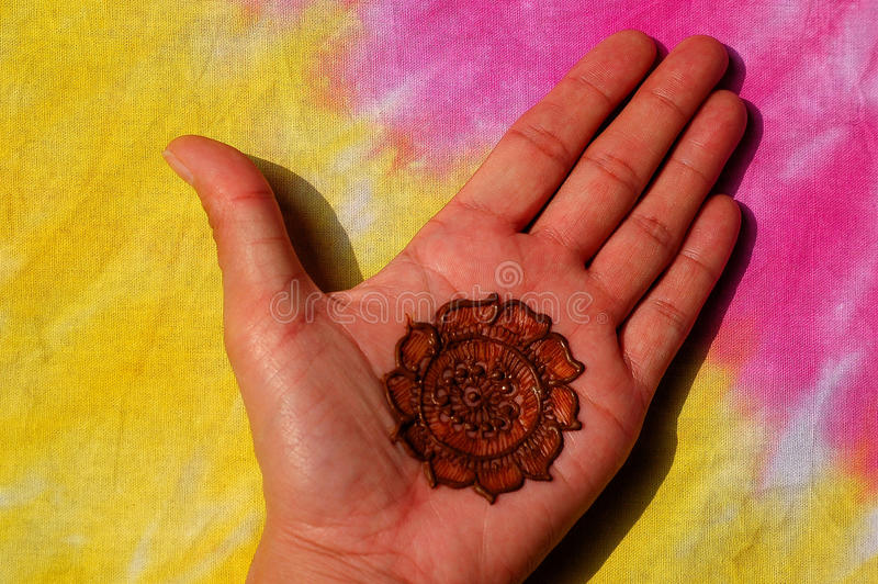 Mão decorada com hena imagem de stock royalty free