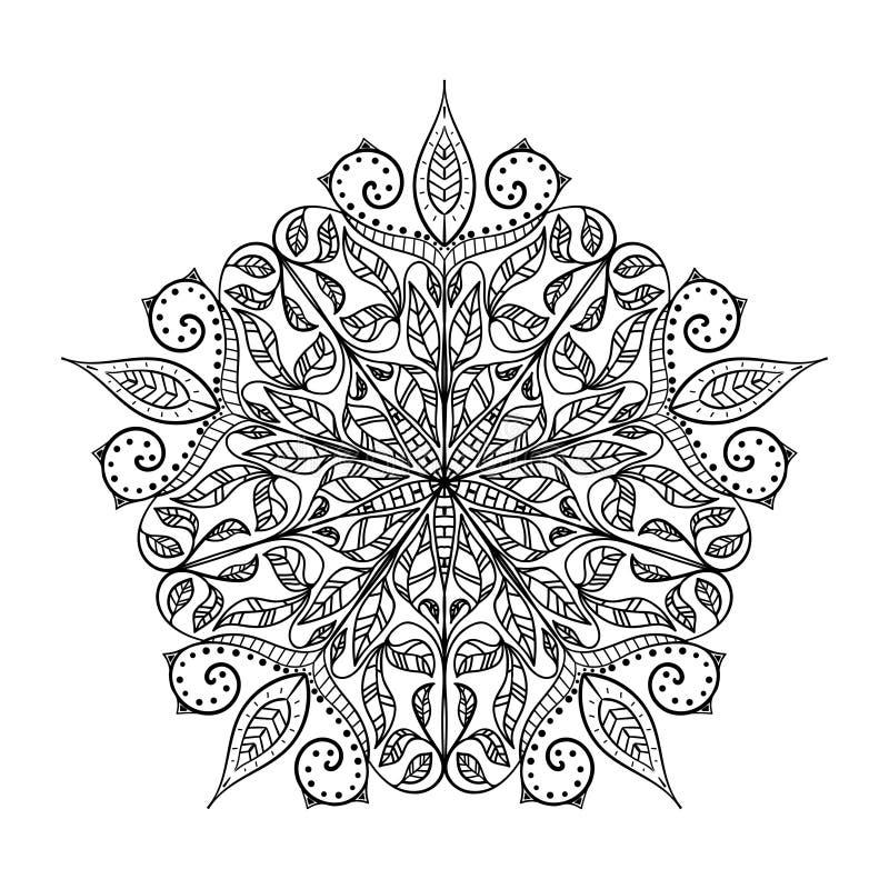 Mão decorativa étnica elementos tirados isolados no fundo branco Islã, árabe, indiano, motivos do otomano Mandala clássica Vetor ilustração royalty free
