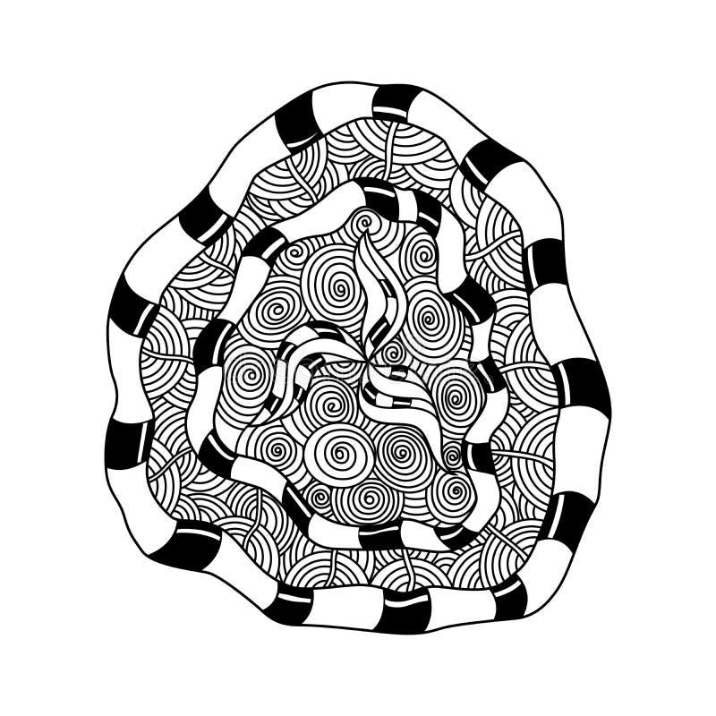 Mão decorativa elementos e flores tirados da mandala Página da coloração com os detalhes altos brancos Para relaxe e meditação ilustração stock