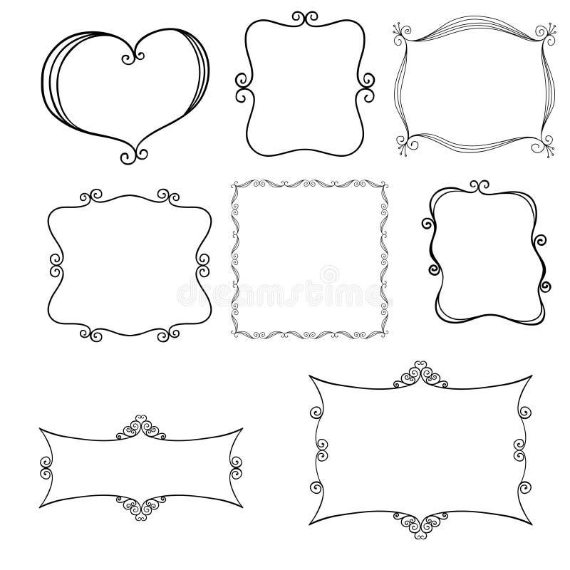 Mão decorativa frames desenhados ilustração do vetor