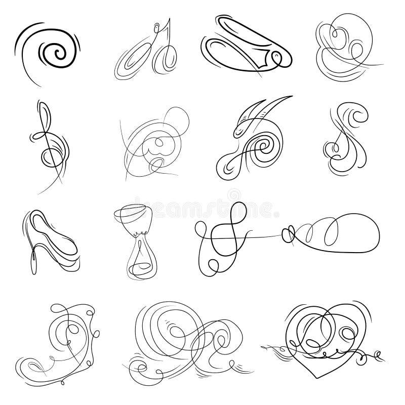 Mão decorativa monogramas tirados Signage do molde, logotipos, etiquetas, etiquetas, cartões Elementos clássicos do projeto para  ilustração stock