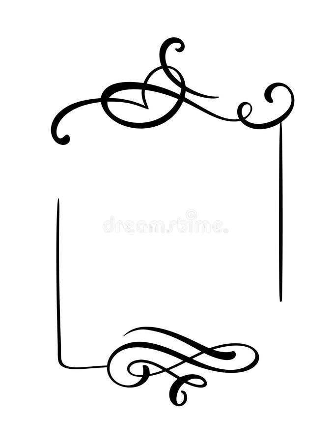Mão decorativa quadro e beiras tirados do vetor do vintage Ilustração do projeto para o livro, cartão, casamento, cópia ilustração stock