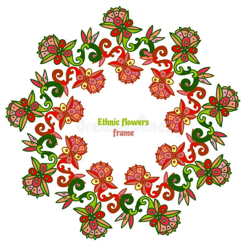 Mão decorativa quadro floral tirado do vetor Cores étnicas e tropicais Projeto do vetor ilustração royalty free