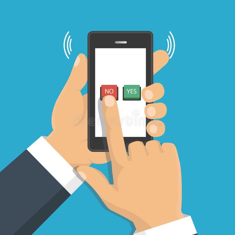 Mão, dedo pressionando os botões nenhuns ou sim em uma tela móvel, app ilustração stock