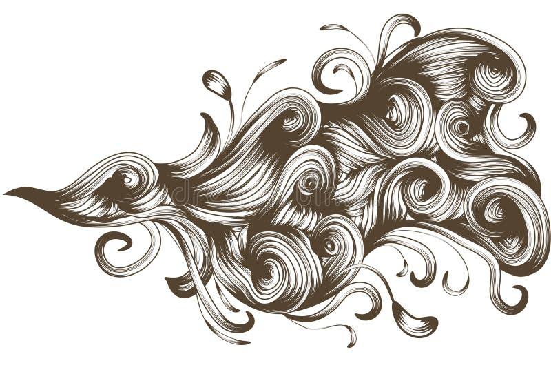 A mão desenhada detalhou o elemento de fluxo do redemoinho ilustração do vetor