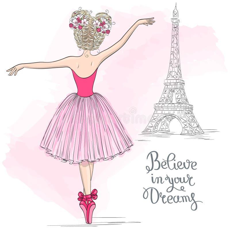 A mão desenhou uma bela, adorável bailarina com flores na cabeça e no fundo com torre de Effel ilustração do vetor