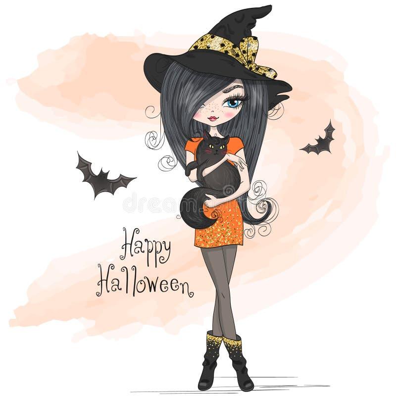 A mão desenhou uma linda bruxa de Halloween com gato preto ilustração do vetor