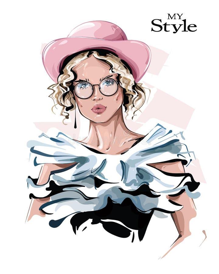 A mão desenhou uma linda jovem de chapéu rosa Garota estilosa nos óculos Olhar de moça Desenho ilustração stock