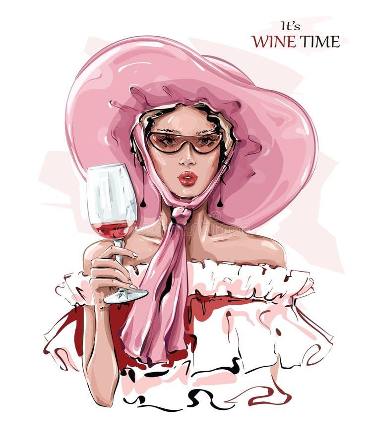 A mão desenhou uma linda jovem de chapéu rosa Moça com copo de vinho Menina estilosa nos óculos de sol Desenho ilustração royalty free