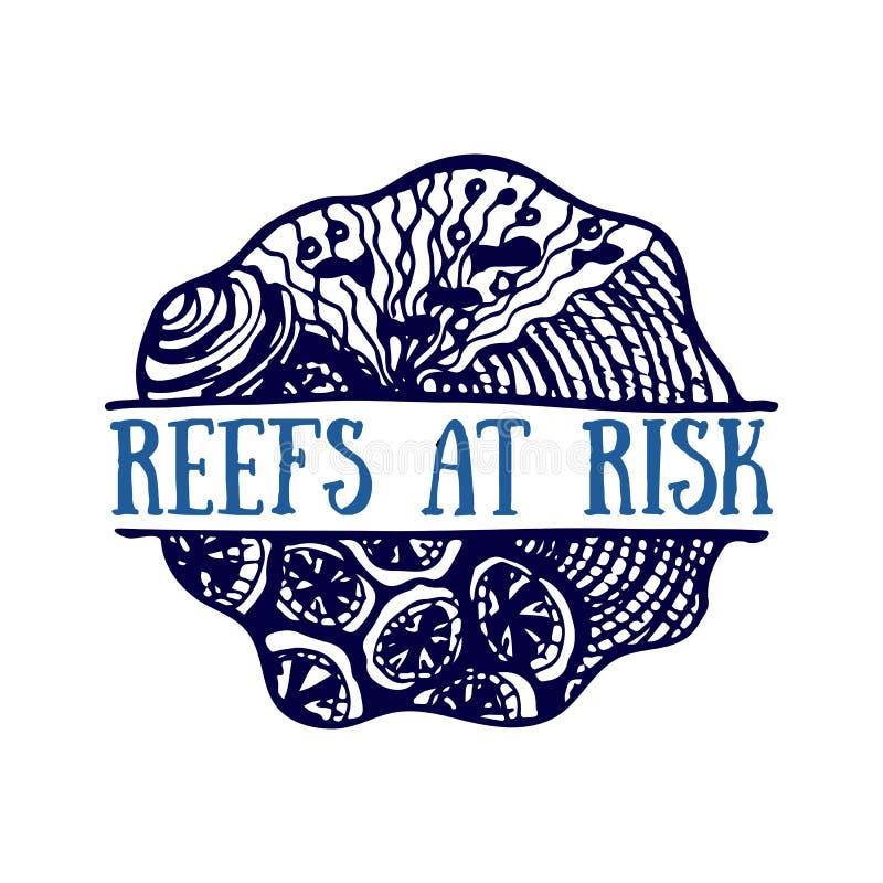 Mão detalhada logotipo tirado Oceanos dia do mundo, oceano azul profundo ilustração do vetor