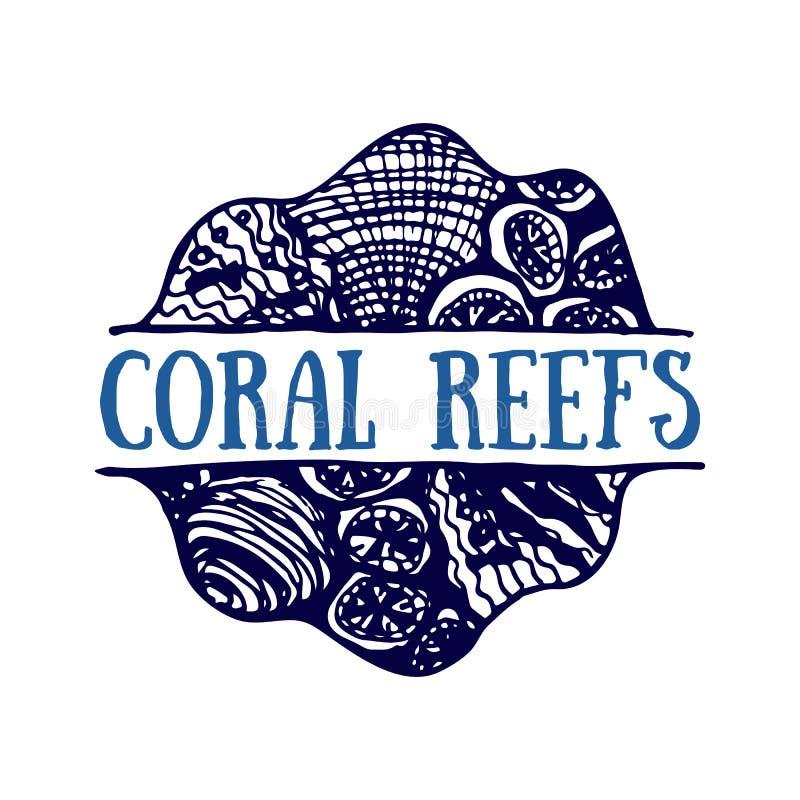 Mão detalhada logotipo tirado Oceanos dia do mundo, oceano azul profundo ilustração royalty free