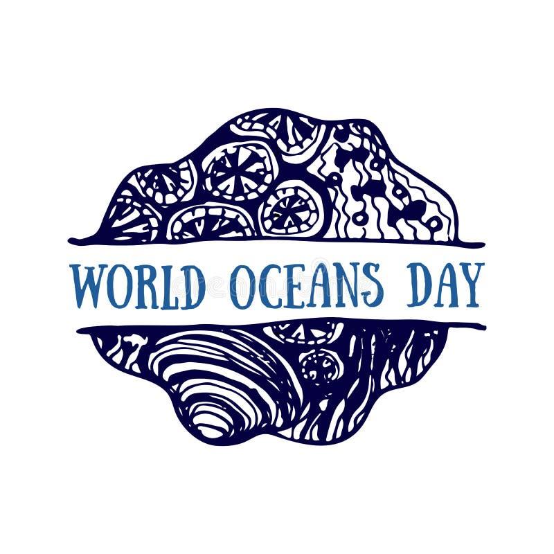 Mão detalhada logotipo tirado Oceanos dia do mundo, verão, oceano azul profundo ilustração royalty free