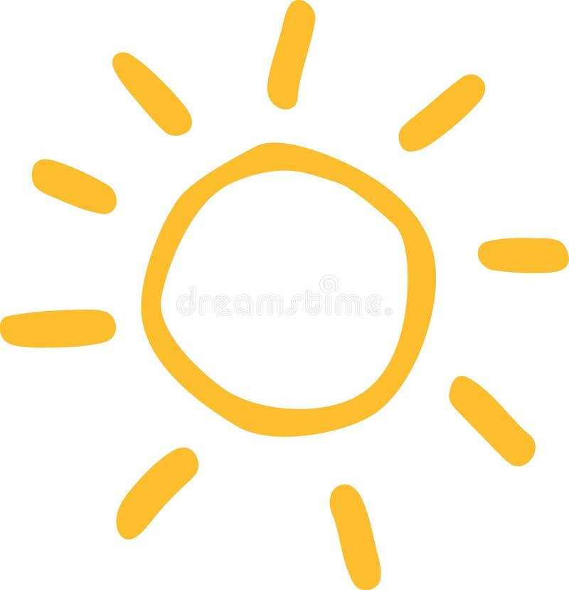 Mão do ícone de Sun tirada ilustração stock