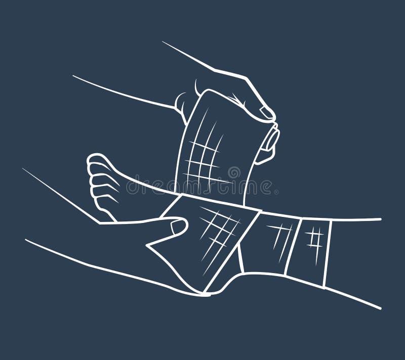 Mão do ícone que enfaixando o pé ilustração stock