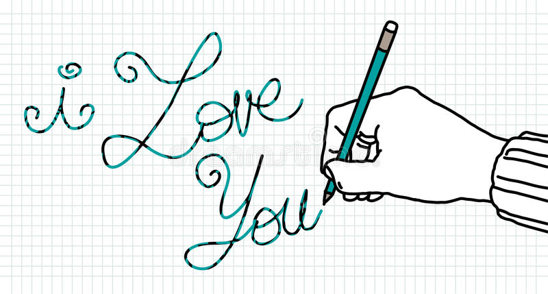 Mão do amante do desenho ilustração do vetor