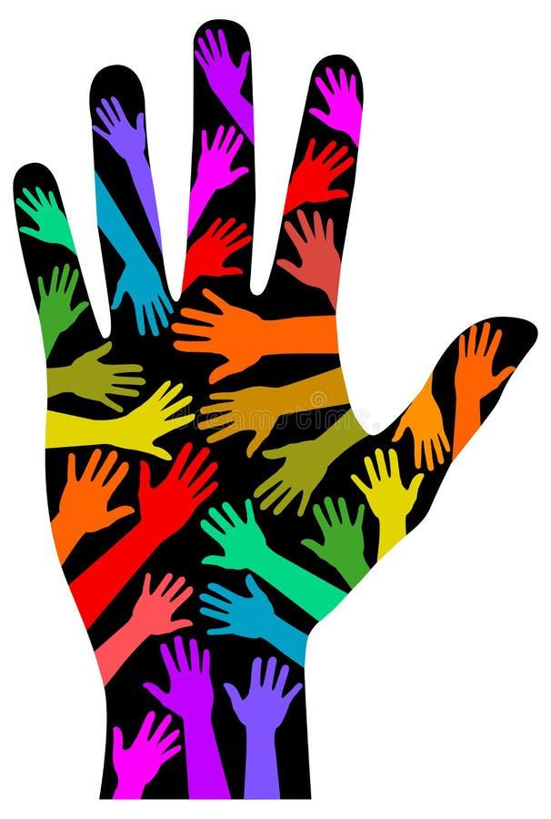 Mão do arco-íris da diversidade ilustração do vetor
