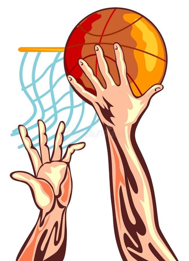 Mão do basquetebol com esfera ilustração do vetor